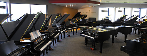 Piano showroom at West Music