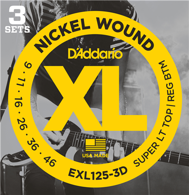 d 39 addario exl125 3d nickel wound electric guitar strings super light top regular bottom 9 42. Black Bedroom Furniture Sets. Home Design Ideas